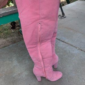 Pink Thigh High Boots